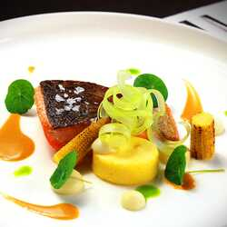 Sea trout with celery, corn and bisque