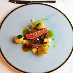 Duck breast with cabbage flavoured dumplings and parsnip